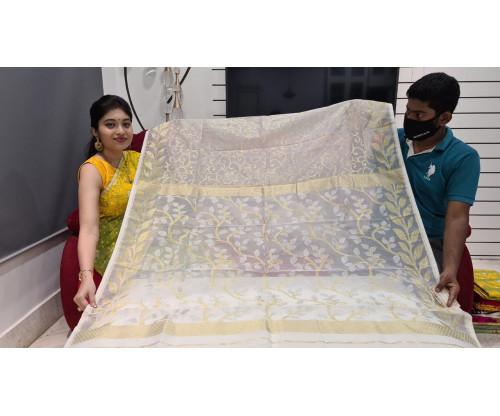 Bengal Handloom Kora Jamdani Saree-EP159-S3