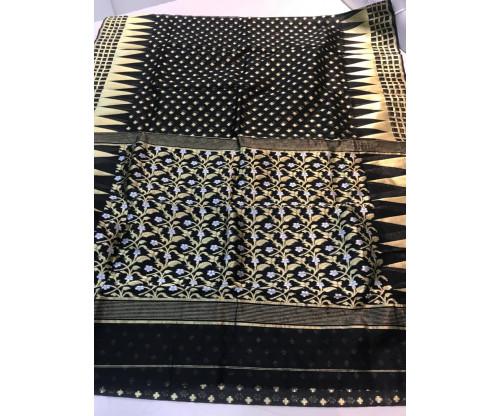 Bengal Handloom Kora Jamdani Saree-S7934