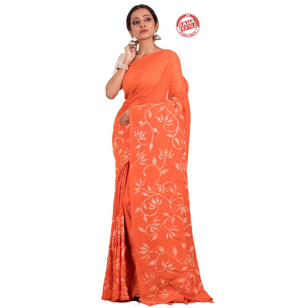 Desh Pure Linen Batik Saree-S5439
