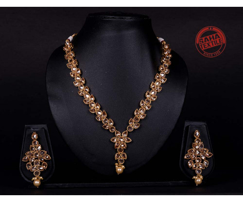 Advika Golden Designer Polki Necklace Set-J11