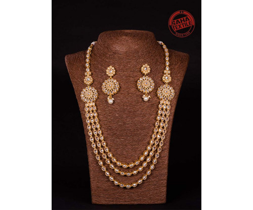 Advika Golden Designer Polki Lahari Set-J33