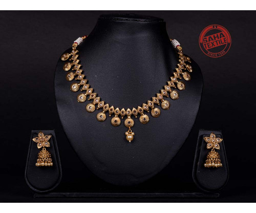 Advika Golden Designer Polki Chick Set-J36