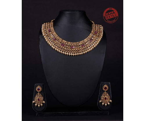 Advika Golden Designer Rubi And Polki Necklace Set-J5