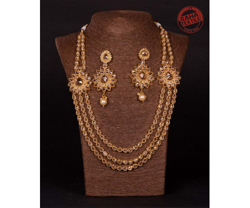 Advika Golden Designer Polki Lahari Set-J51