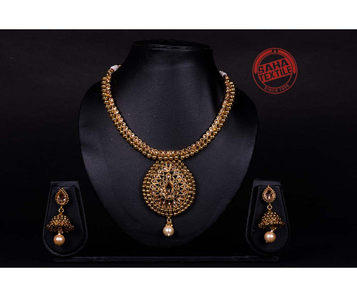 Advika Golden Designer Kundan Necklace Set-J62