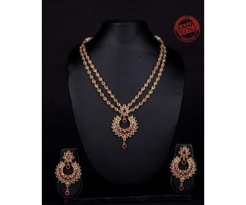 Advika Golden Designer Polki And Rubi Necklace Set-J7